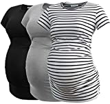 Smallshow Women's Maternity Tops Side Ruched Tunic T-Shirt Pregnancy Clothes Large White Stripe-Black-Grey