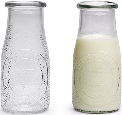 Circleware 69009 Hammered Milk Bottles Set of 6, 16 oz Glasses Glassware for Water, Juice, Beer, Wine, Liquor, Kombucha Iced Tea Punch & Cold Drinks, 6pc, Sunrise Farm