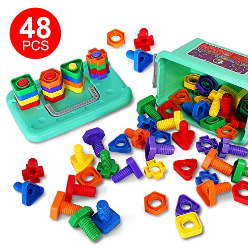 48 PCS Jumbo Nuts and Bolts Toy with Box 4 Shapes and 6 Colors Matching Sorting Game Educational Learning Toys for Baby Toddlers Infants Age 1 2 3 Year Old