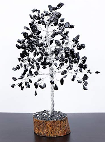 Crystals and Healing Stones 7 Chakra Black Tourmaline Crystals Healing Crystals Chakra Stones Bonsai feng Shui Money Tree Sculptures Home Decorations for Living Room 250 Beads 9-11 Inch Pendant Gift