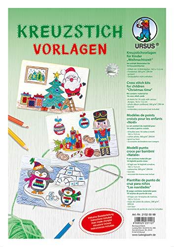 Ursus 21520099 - Kreuzstichvorlagen, für Kinder Weihnachtszeit, 16 Karten