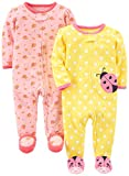 Simple Joys by Carter's Baby Girls' 2-Pack Cotton Footed Sleep and Play, Pink Floral/Ladybug, N…