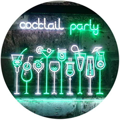 ADV PRO Cocktail Party Home Bar Club Pub Dual Color LED Enseigne Lumineuse Neon Sign Blanc et Vert 400 x 300mm st6s43-i3175-wg