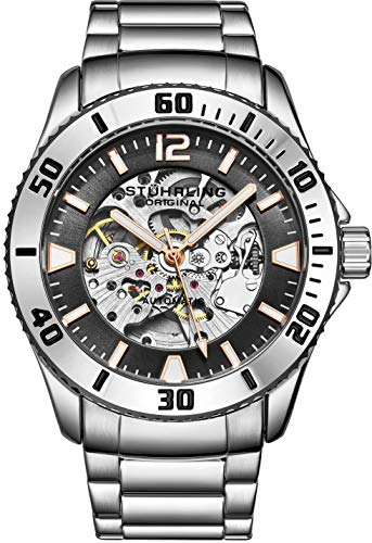 Stuhrling Original Mens Automatic Watch - Dive Watch with Stainless Steel Bracelet Mechanical Watches - Water Resistant Wrist Watch to 165FT Self Winding Mens Silver Sports Watch (Gray)