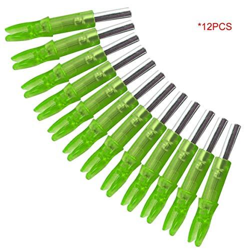 12PCS / SET cola super brillante LED luminoso Flecha Nock caza al aire libre de disparo de tiro con arco arco Flecha doble cola Dentro de luz (verde)