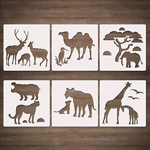 CODOHI African Wild Safari Animals Schablonen - 6 Stück 13x13cmGiraffe Tiger Rhino Kamel Strauß Vorlage zum Malen auf Holzkarte Making DIY Projekte