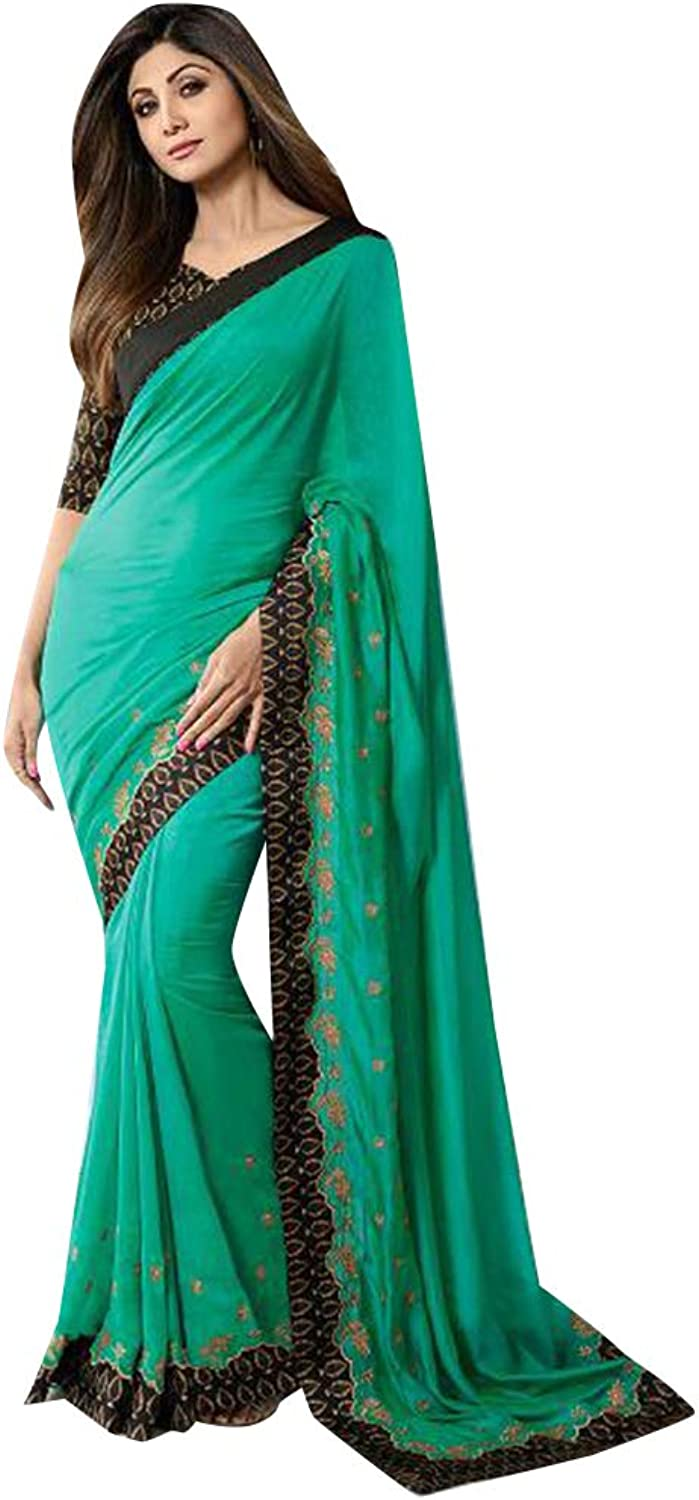 Emerald Designer Bollywood Shilpa shetty Fancy Saree with Blouse piece Sari for Women Evening Cocktail wear 7852
