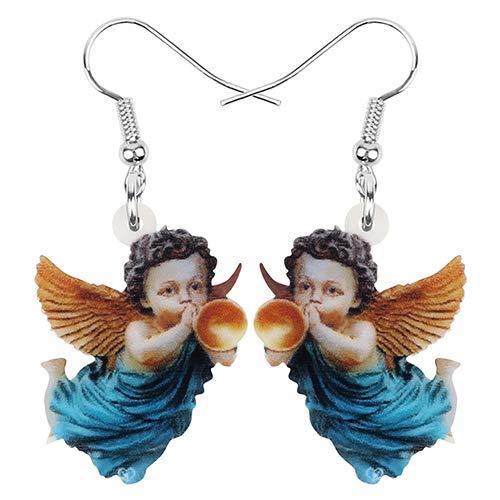 NA - Pendientes acrílicos para el Día de San Valentín, diseño de ángeles