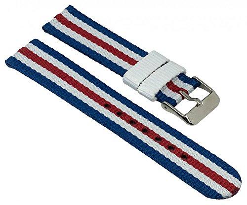 Adora Young Line Kollektion Ersatzband Uhrenarmband Textil Band 18mm blau/weiß/rot 29080