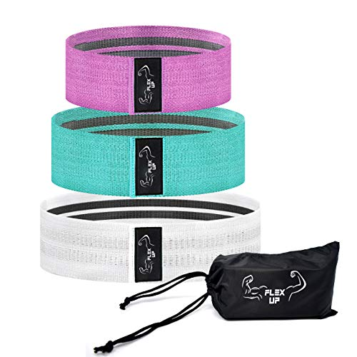 Flex Up Fabric Resistance Booty Bands - for Leg, Glute & Butt Workouts - Ultra Comfort Exercise Hip Bands - Wide Elastic Non Slip Loop - Pink, Teal & White Set - Small, Medium, Large with Carry Bag