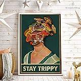 TammieLove Póster de seta con texto 'Stay Trippy', diseño de setas de 20,3 x 30,5 cm