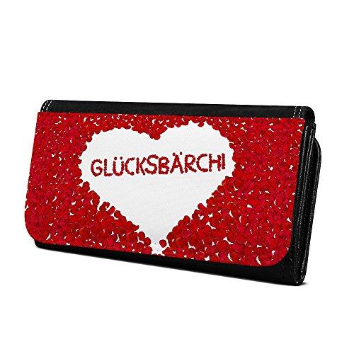 Geldbörse mit Namen Glücksbärchi - Design Rosenherz - Brieftasche, Geldbeutel, Portemonnaie, personalisiert für Damen und Herren
