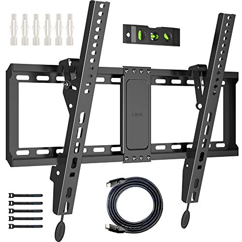 BONTEC Soporte de TV en Pared de 37-70 Pulgadas de LED LCD Plasma Soporte Inclinable de Montaje en Pared VESA 600x400mm Carga 60kg el Nivel de Burbuja Cables HDMI de 1.8m y sujetacables incluidos