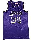 XFKL T-Shirt De Basketball Rétro De T-Shirt Shaquille O'neal N ° 34 pour Hommes, Adapté À La Saison Estivale, Printemps, Automne,A,L
