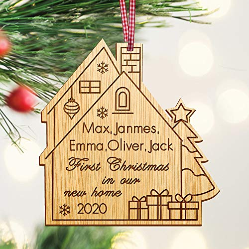 Personalised 1st Christmas in our New Home Bauble | First Xmas decoration for new house | housewarming gift | Wooden Christmas Tree Ornament Hand Finished in UK