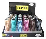 Clipper Mechero Metal Pied de Poule Case, 1 unidad, 6 colores disponibles