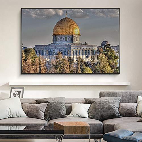 GJQFJBS Kuppel des Felsens Wandkunst dekorative Bilder islamische Kunst Leinwandbilder an der Wand Kunst realistische Moschee muslimische Plakate Replik (Rahmenlos) 50x90CM