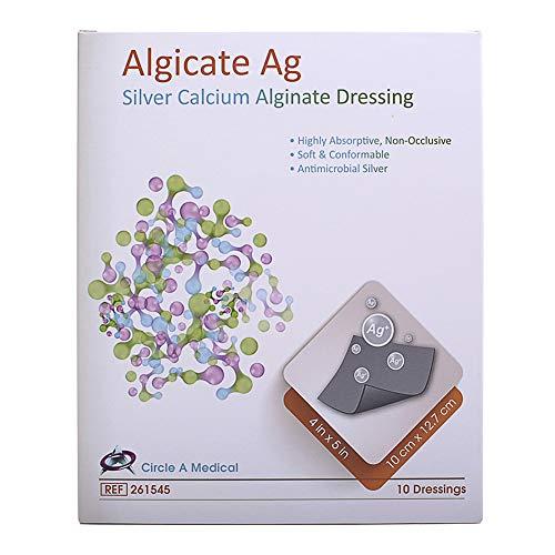 Algicate Ag Silver Calcium Alginate Wound Dressing Gauze Pads Sterile, 4