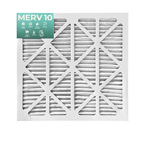 20x20x1 MERV 10 Pleated Air Filters for AC and Furnace. 12 PACK. Actual Size: 19-1/2 x 19-1/2 x 7/8