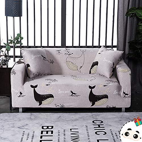 Enhome Funda Sofá Elastica Universal, 1 2 3 4 Plazas Extensible Forro de Sofá Antideslizante Cubierta Impresión Cubre de Sofá Protector para Muebles y Mascotas (Negro Delfín,2 Plazas)