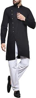 WINTAGE Men's Cotton Silk Festive and Casual Kurta Pajama Pyjama : Black