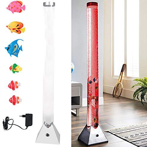 Bakaji Lampada Tubo Effetto Bolle da Terra Altezza XL 115 cm con 6 Pesci Pesciolini Acquario Galleggianti Luce LED Sensoriale Cambio Colore Automatico Arredamento Cameretta Bambini Ragazzi