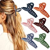 Cieovo 6 Pieces Hair Claw Clip Hair Jaw Clamp Clips 4.3 Inch Nonslip Hair Claw Strong Hold Matte Butterfly Clip Clamp Hair Styling Accessories for Women Girls Thin Thick Fine Hair