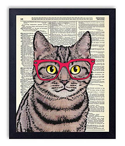 Kitty Cat In Red Glasses Vintage Wall Art Upcycled Dictionary Art Print Poster 8x10 inches, Unframed