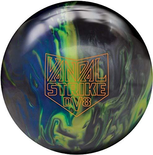 DV8 Vandal Strike, Schwarz/Gelb/Blau, Pearl Oberfläche, Reaktiv Bowlingball für Einsteiger und Turnierspieler - Die Bowlingkugel Macht bei richtiger Spielweise eine Bogenbewegung Größe 16 LBS