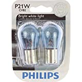 PHILIPS 12498CVB2 P21W CrystalVision Ultra Miniature Bulb, 2 Pack