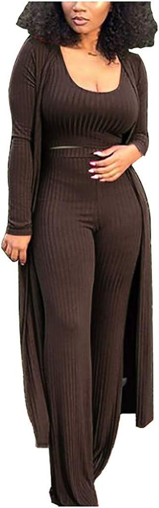 QingFan 3PCS Women Tight Sexy Sets Solid Tank Top Vest + Cardigan Coat+ Long Pants Suit Casual Loungewear