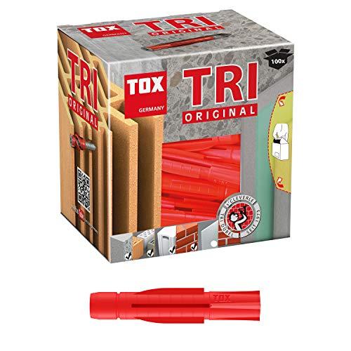 TOX Allzweckdübel Tri 6 x 51 mm, Dübel für fast alle Baustoffe, 100 Stück, 010100061