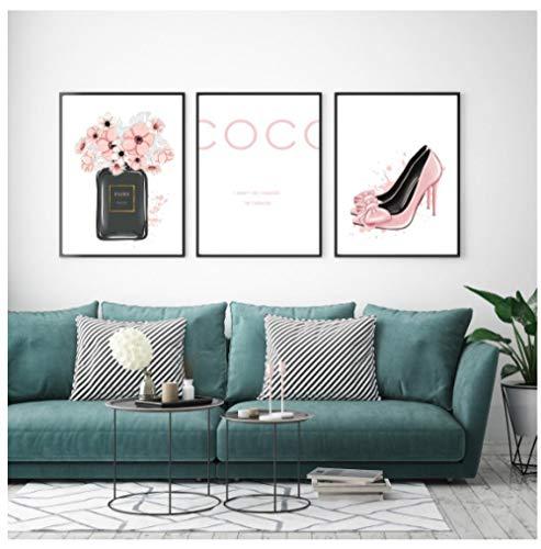 Nordic Parfümflasche Coco High Heels Wandkunst Leinwand Malerei Moderne Wandbilder Für Wohnzimmer Wohnkultur Kein Rahmen 50X70 cm x 3 Kein Gestaltet