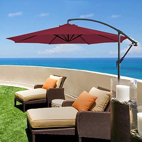 HLLL Cantilever Garden Sonnenschirm Mit Sockel, 3 M Versetzter Sonnenschirm, Bananen-Regenschirm, Kurbel Zum Öffnen, Schließen, Neigung, Sonnenschirm (Rot)