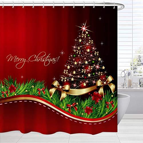 Broshan Roter Weihnachts-Duschvorhang, klein, Weihnachtsbaum-Druck, Bade-Vorhang, Heimdekoration, Winter-Urlaub, Stoff, Badezimmer-Deko-Vorhang mit Haken, 157,5 x 182,9 cm