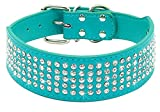 Beirui Rhinestones Dog Collars - 5 Rows Full Sparkly Crystal Diamonds Studded PU Leather - 2 Inch Wide -Beautiful Bling Pet Appearance for Medium & Large Dogs,15-18' Turquoise