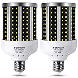 LED Corn Light Bulb 2 Pack 280W Equivalent Cool Bright Daylight White 40W 6500K 4000 Lumen E26/E27 Medium Base New Corn Shape 360°Beam Angle for Outdoor Indoor Factory Warehouse Garage Shop Street