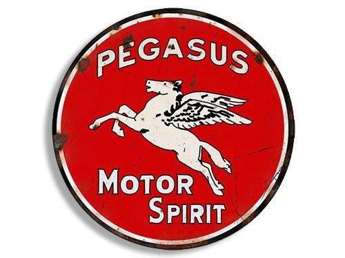 American Vinyl Round Vintage Pegasus Gas Sticker (Gasoline Logo Old Rat Rod)