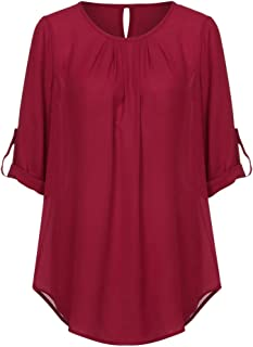 Aniywn Women Plus Size Chiffon Blouse V-Neck Solid Color Adjustable Sleeve T-Shirt Tops