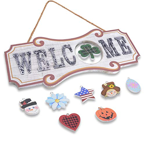 Interchangeable Welcome Sign For Front Door Decor - Wall Hanging Plaque Home Decoration for Christmas Valentine Thanksgiving Spring Summer Autumn America Holiday (White)