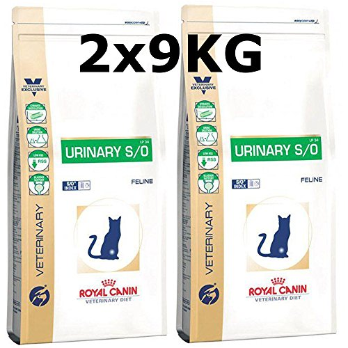 Royal Canin Urinary S/O Cat LP 34 - Mangime secco per gatti, 2 x 9 kg = 18 kg