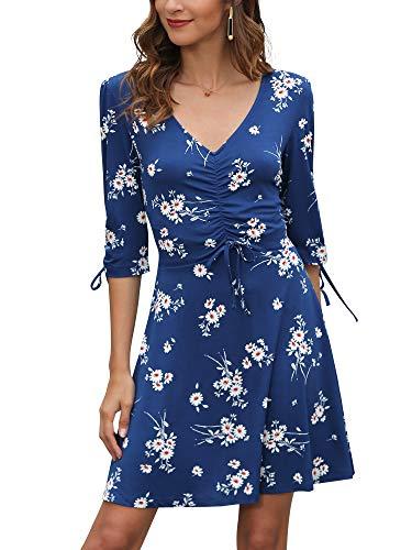 Damen Kleid mit Blumen-Muster Kurzarm Kleider Tunika V-Ausschnitt Lässig 3/4 Ärmel Kleider Casual Party MiniKleid Plissee Knoten Manschette für Sommer