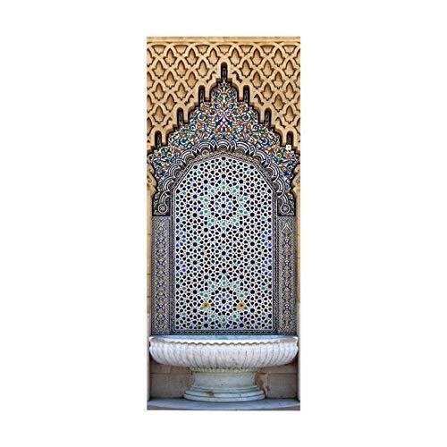 tianhao Cartel de Pasta de Arte de Arco Medieval para decoración de Dormitorio Moda DIY Pegatina de Puerta 77 * 200 cm