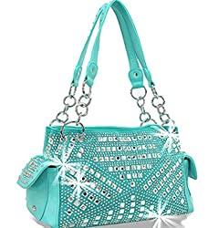 Gem Studded Rhinestone Concealed and Carry Torquoise Purse