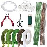 12 Pz Herramientas Arreglo Floral Kit, Woohome 2 Estilo Cinta, 2 Estilo Alambre, Cortador de Alambre, Tijeras y Pasadores de Cabeza para el Ramo de Boda DIY