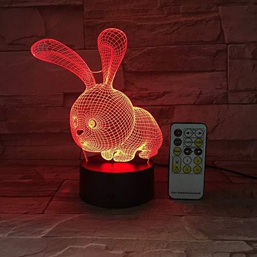 jiushixw 3D acryl nachtlampje met afstandsbediening kleur tafellamp cartoon haas konijn veranderende milieu kinderen cadeau donker oranje tafellamp