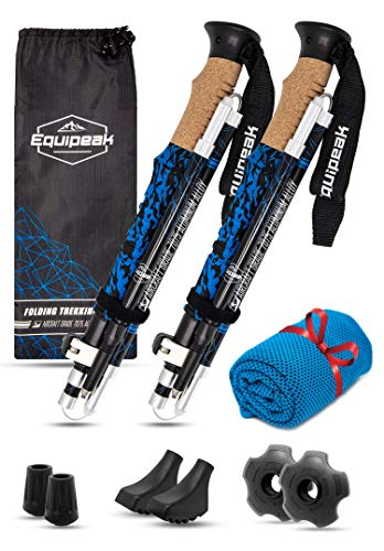 Equipeak Collapsible Folding Hiking & Trekking Sticks - 2 Aluminum Walking Poles with Real Cork & EVA Handle Grip Set - Ultra Strong Locking - for Men & Women (Blue, S (5'0' - 5'8'))