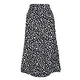 Falda para Mujer,Negro Gasa Estampado De Leopardo Cintura Al