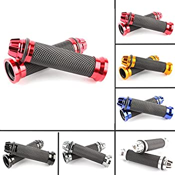 Blue 7//8 inch 22mm Universal CNC Aluminum Rubber Gel Motorcycle Handlebar Hand Grips for Sports Bike