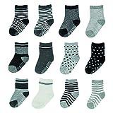HYCLES Kinder Anti Rutsch Knöchel Socken - 12 Paar ABS Socken für 5-7 Jahre Baby Jungen Mädchen Kinder Kleinkind Säugling Neugeborenes Gestreifter und sternförmiger Stil